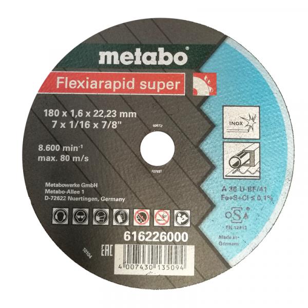 DISCO DE CORTE P/ACERO-INOX RECTO A 36-U-BF/41 180X1.6X22.2 MM FLEXIARAPID SUPER